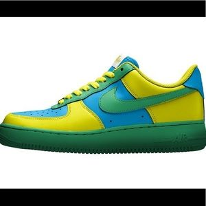 Customized Nike Air Force 1 Blue Green Yellow